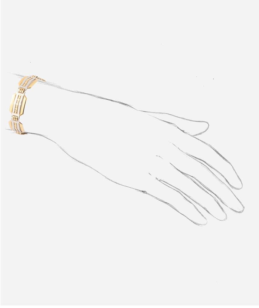 """Bracelet ancien or """"Ponni"""" porter"""