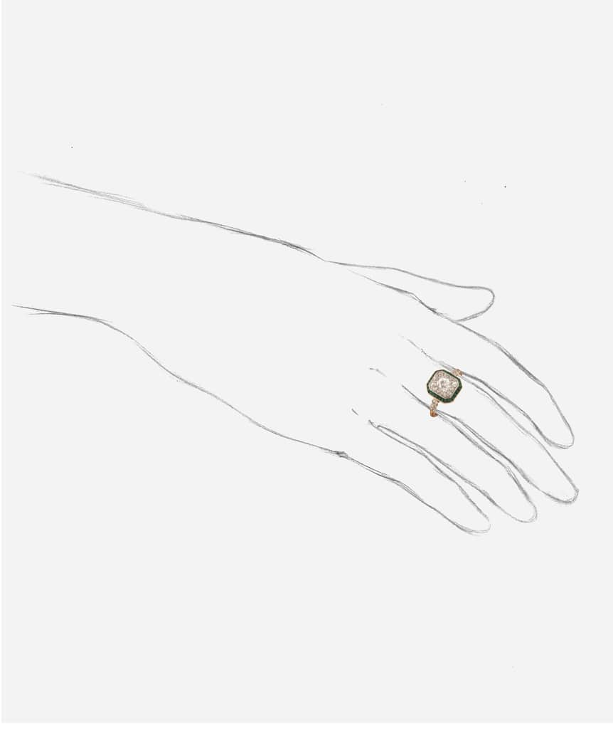 "Bague Art déco diamants ""Harita"" porter"