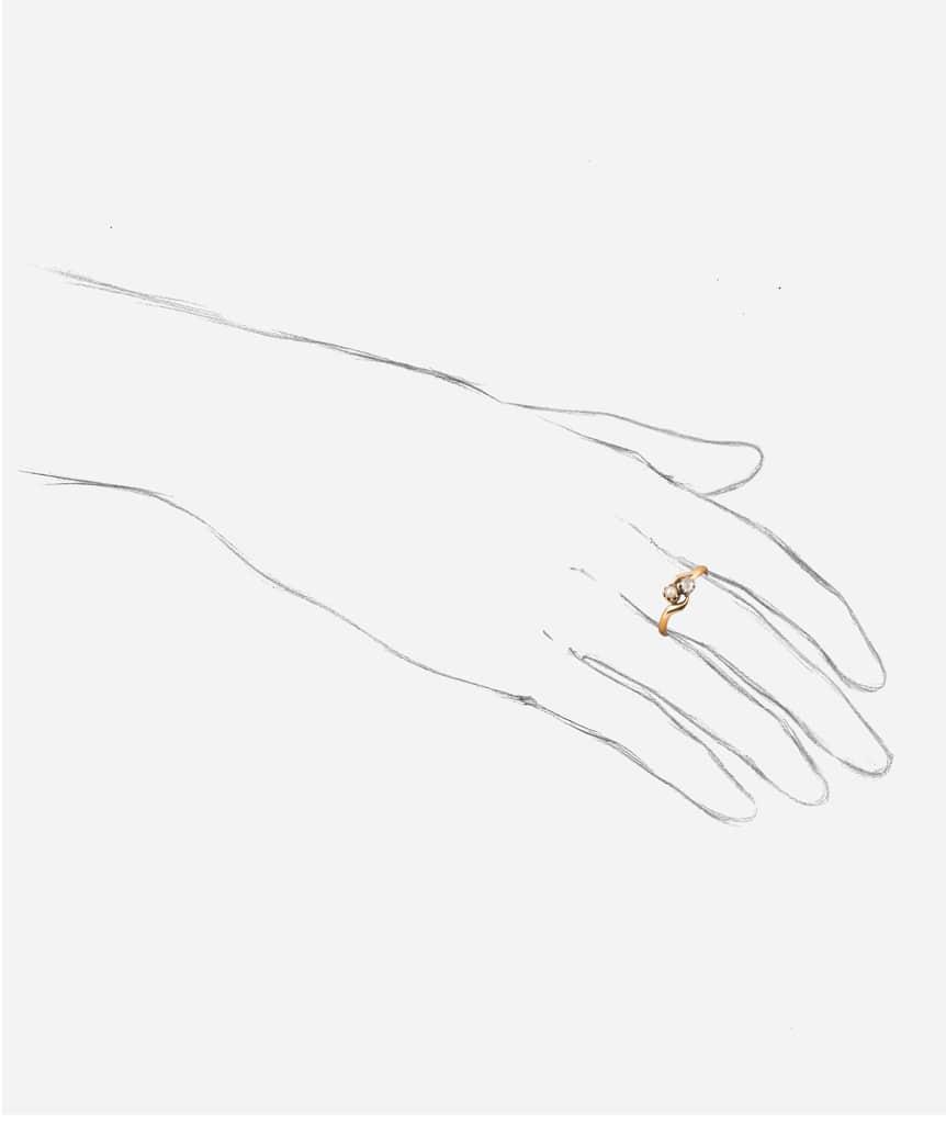 "Bague toi et moi diamant et perle ""Badira"" porter"