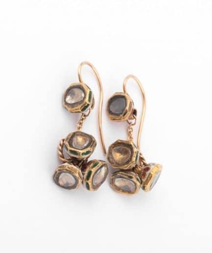 """Boucles d'oreilles anciennes diamants """"Almas"""" Boucles d'oreilles anciennes Or Bijoux Anciens - Caillou Paris"""