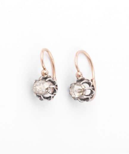 """Dormeuses provençales diamants """"Behira"""" Boucles d'oreilles anciennes Or Bijoux Anciens - Caillou Paris"""