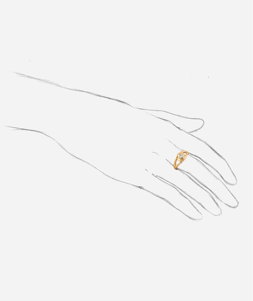 """Caillou Paris - Bague ancienne diamant """"Erena"""" porter"""