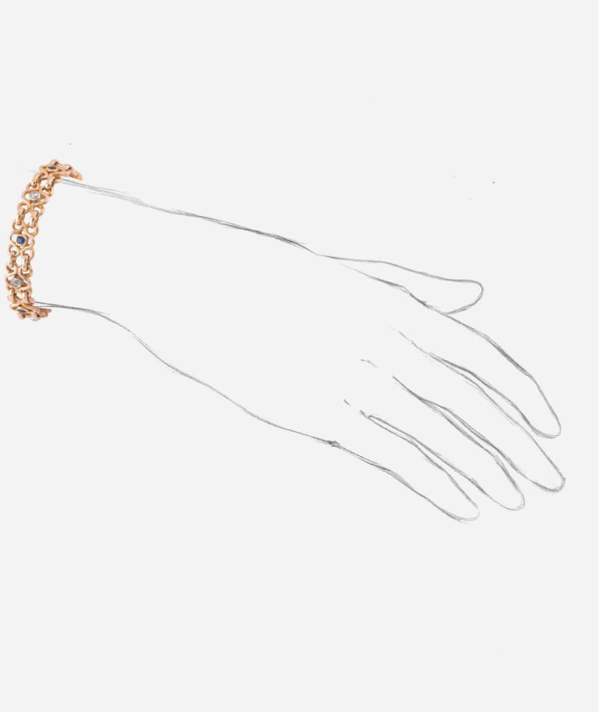 "Caillou Paris - Bracelet ancien or ""Faria"" porter"