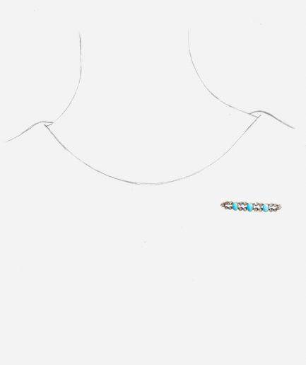 Caillou Paris - Broche barrette ancienne turquoises porter