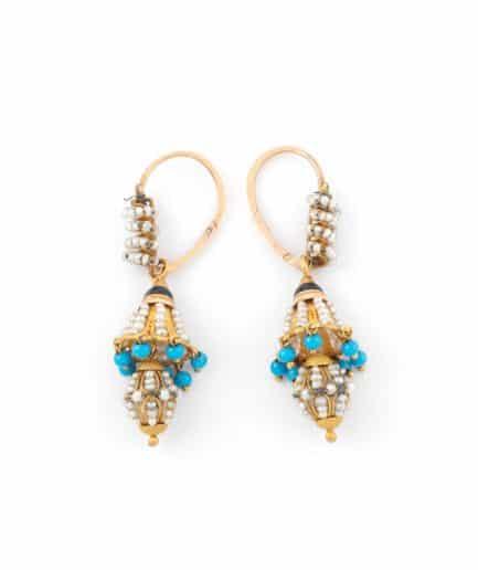 """Dormeuses anciennes perles """"Chimalis"""" Boucles d'oreilles anciennes Or Bijoux Anciens - Caillou Paris"""