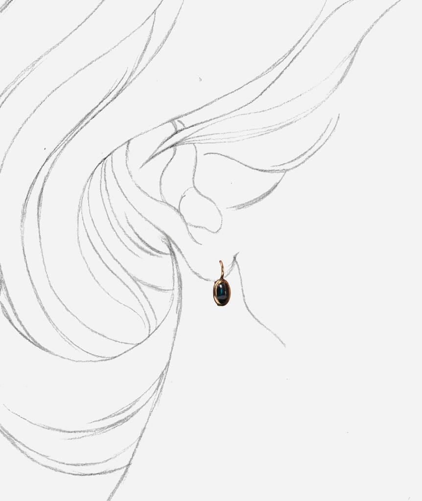 "Dormeuses anciennes saphir ""Aoi"" porter"