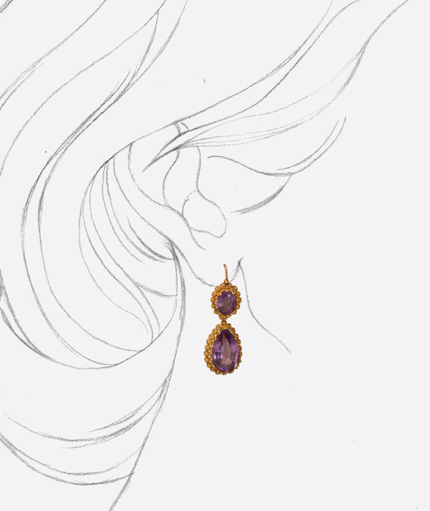 Caillou Paris - Pendants d'oreilles anciennes Mayra porter