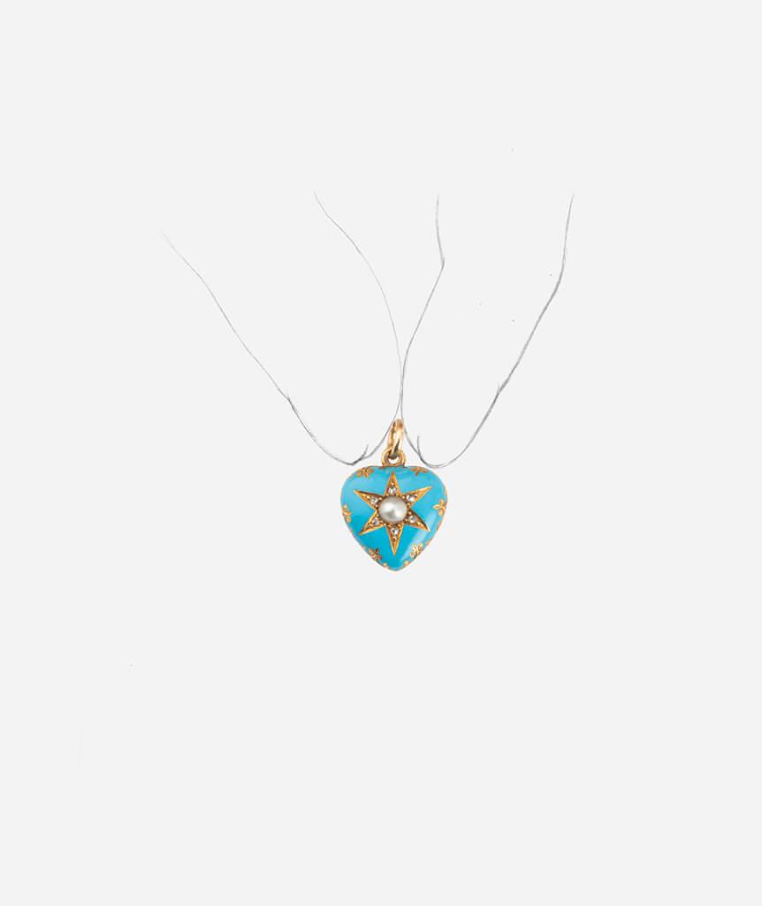 Caillou Paris - Pendentif ancien coeur perle porter
