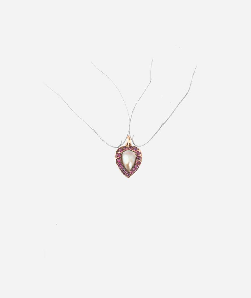 Pendentif ancien coeur rubis porter