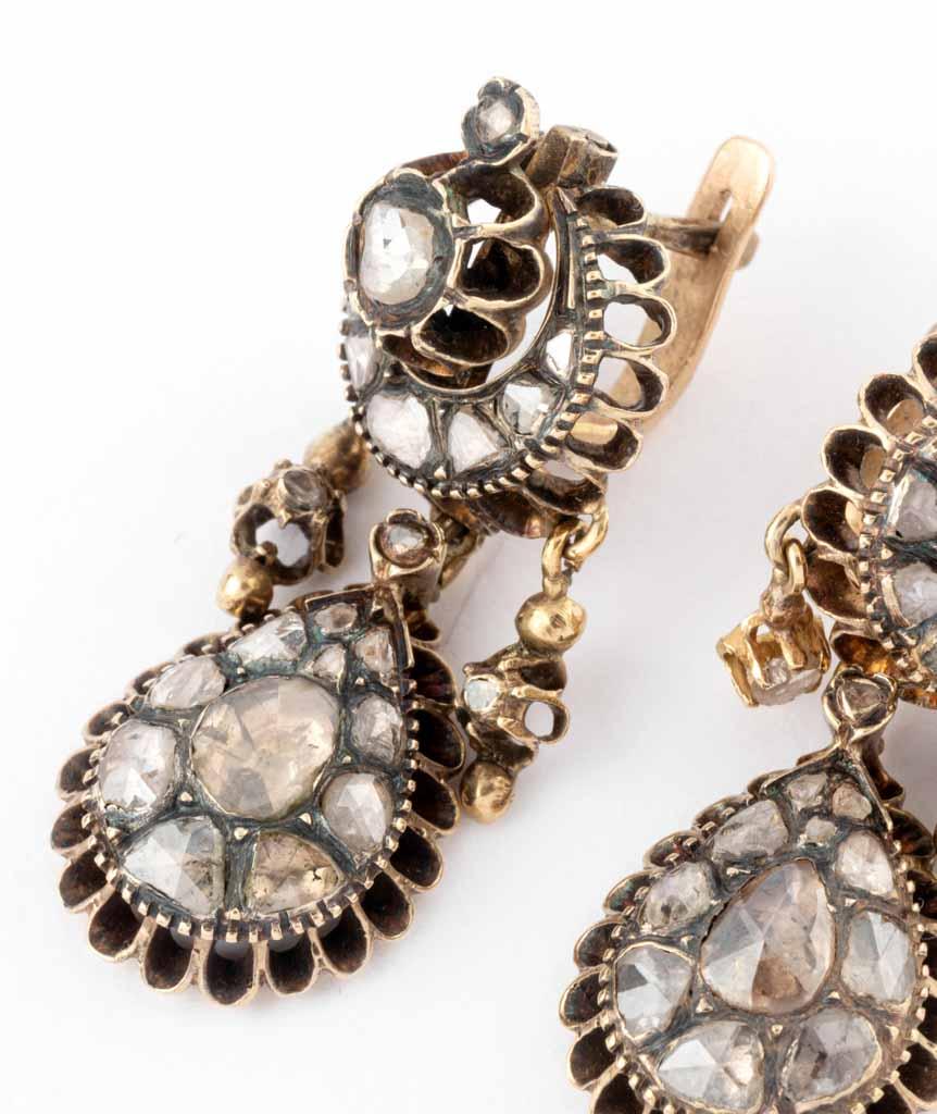 Caillou Paris - Boucles d'oreilles anciennes diamants Mahea detail 2