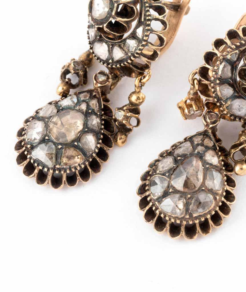 Caillou Paris - Boucles d'oreilles anciennes diamants Mahea detail 1