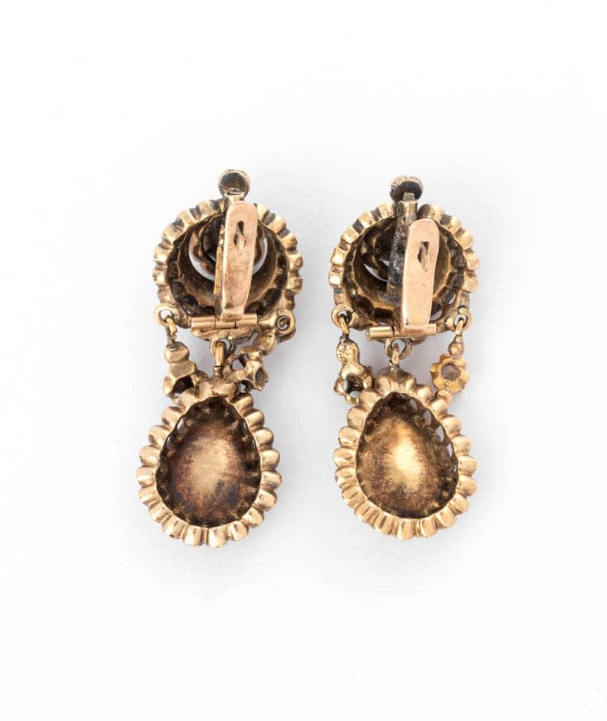 Caillou Paris - Boucles d'oreilles anciennes diamants Mahea dos