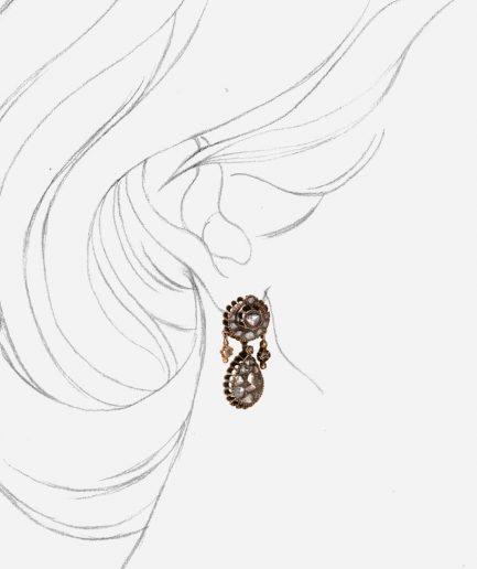 Caillou Paris - Boucles d'oreilles anciennes diamants Mahea porter