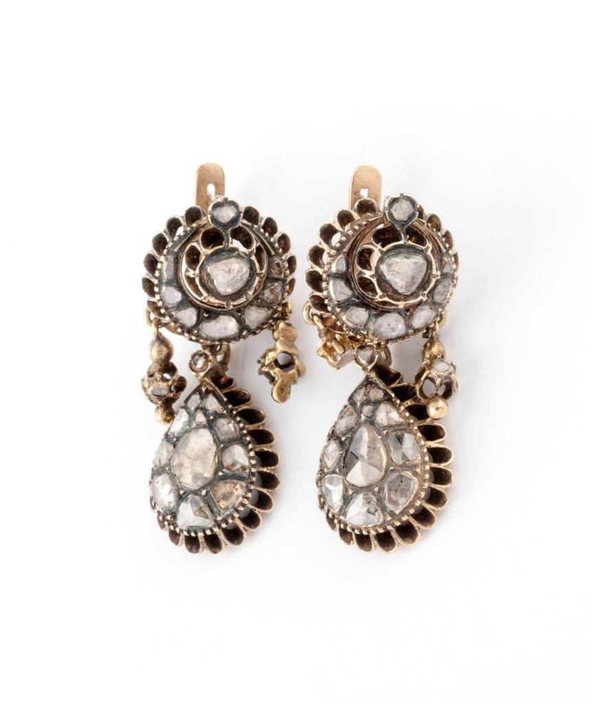 Caillou Paris - Boucles d'oreilles anciennes diamants Mahea