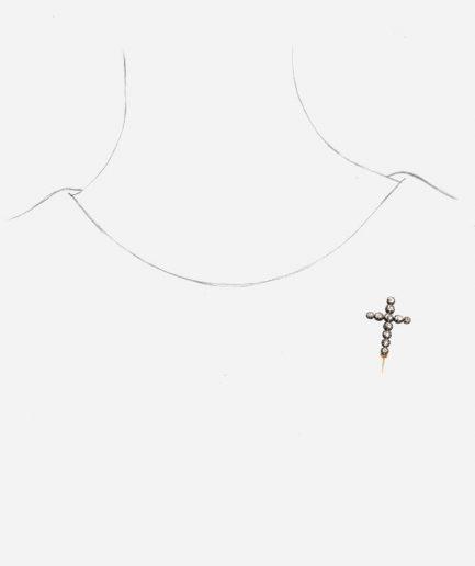 Caillou Paris - Broche croix ancienne Hira porter