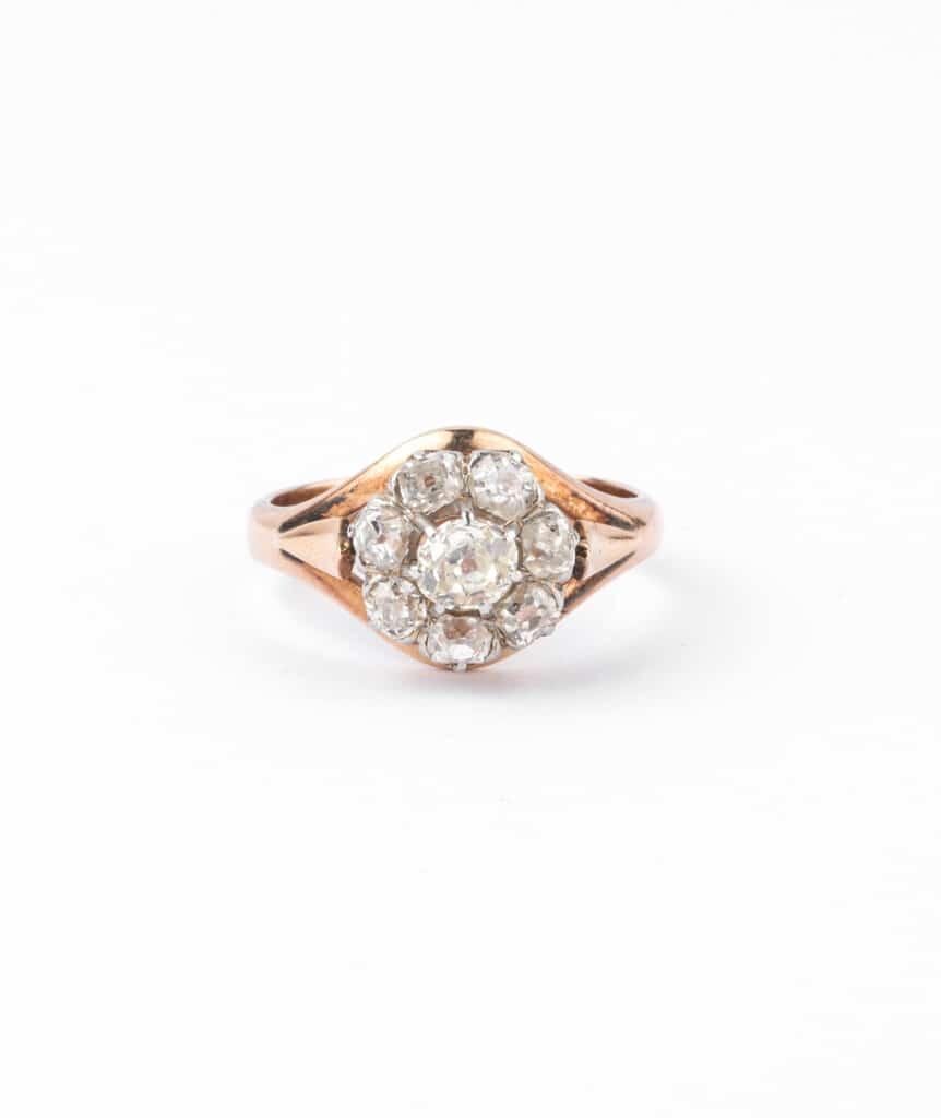 Caillou Paris - Bague ancienne diamants Hardik face