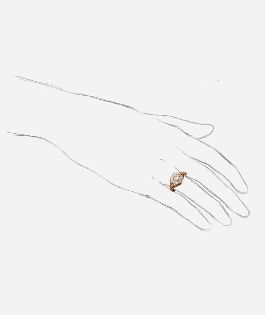Caillou Paris - Bague ancienne diamants Hardik porter