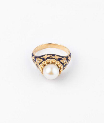 """Bague ancienne perle """"Angi"""" Bague Ancienne Fin 19ème siècle Bijoux Anciens - Caillou Paris"""