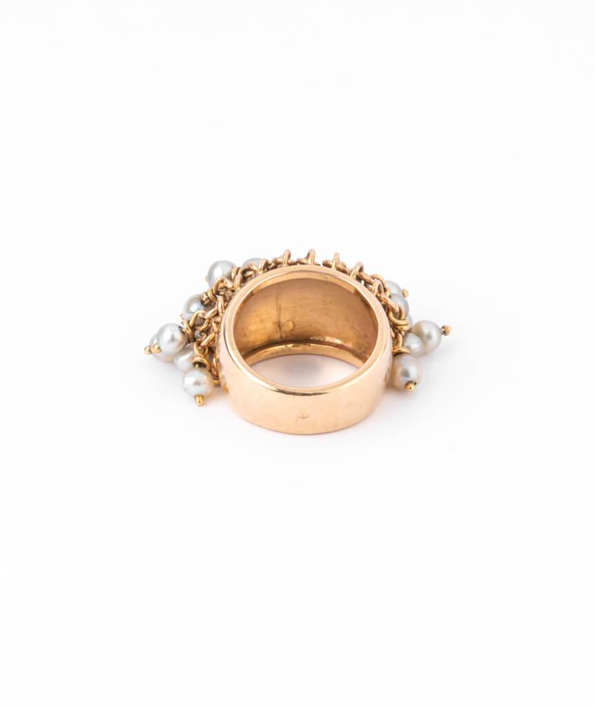 Caillou Paris - Bague jonc ancienne perle Alhagi dos