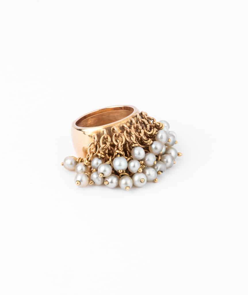 Caillou Paris - Bague jonc ancienne perle Alhagi droite