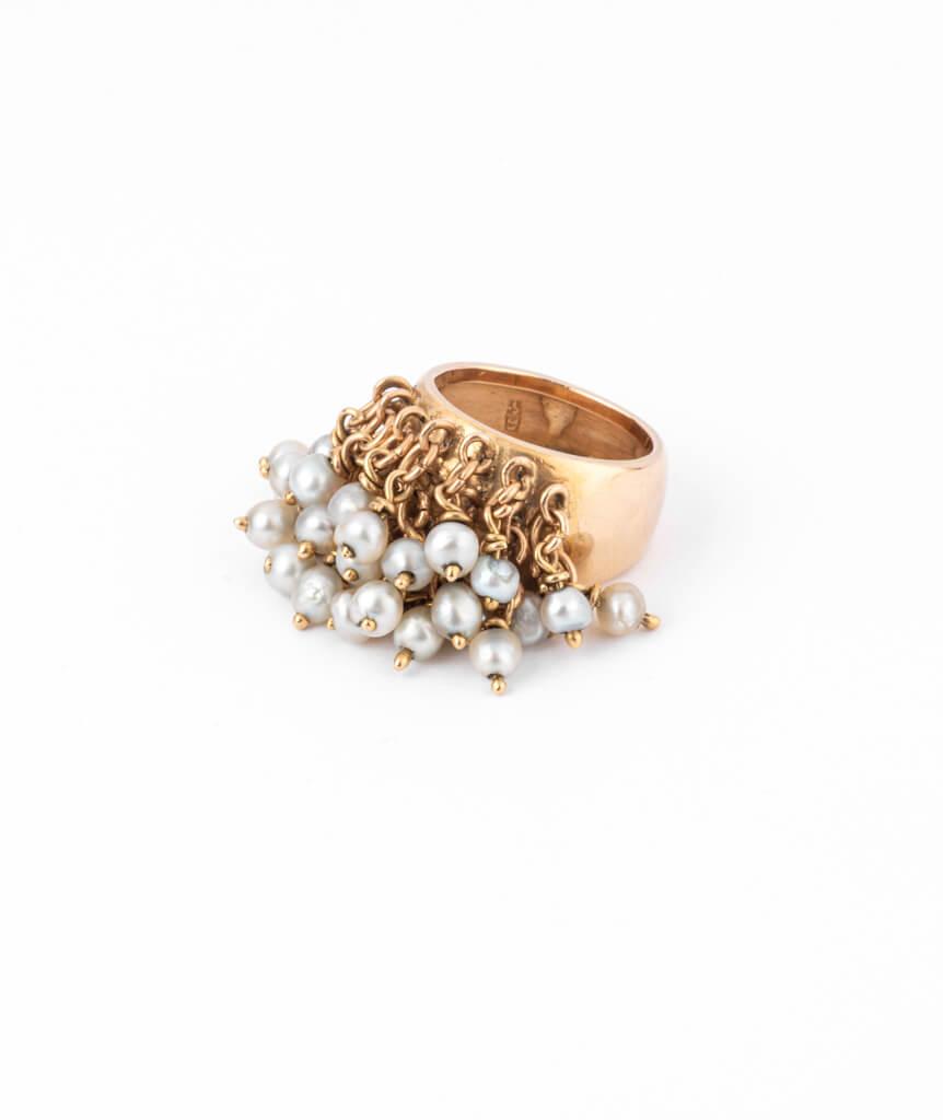 Caillou Paris - Bague jonc ancienne perle Alhagi gauche