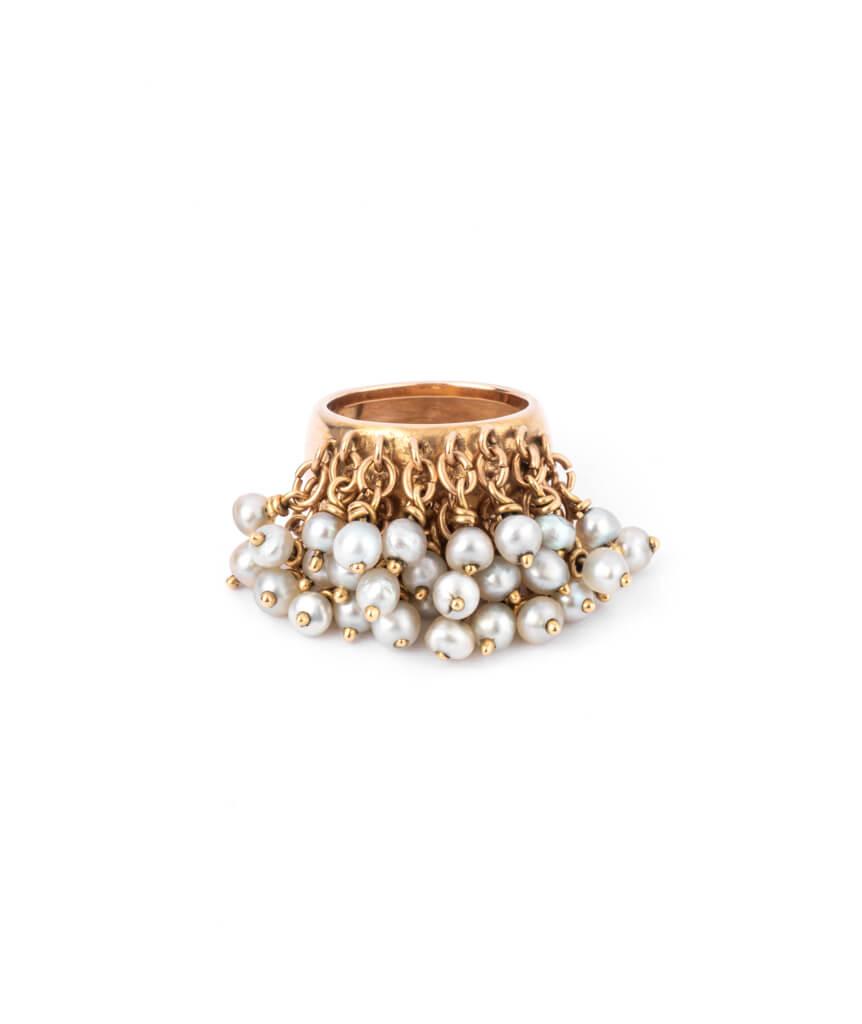 Caillou Paris - Bague jonc ancienne perle Alhagi