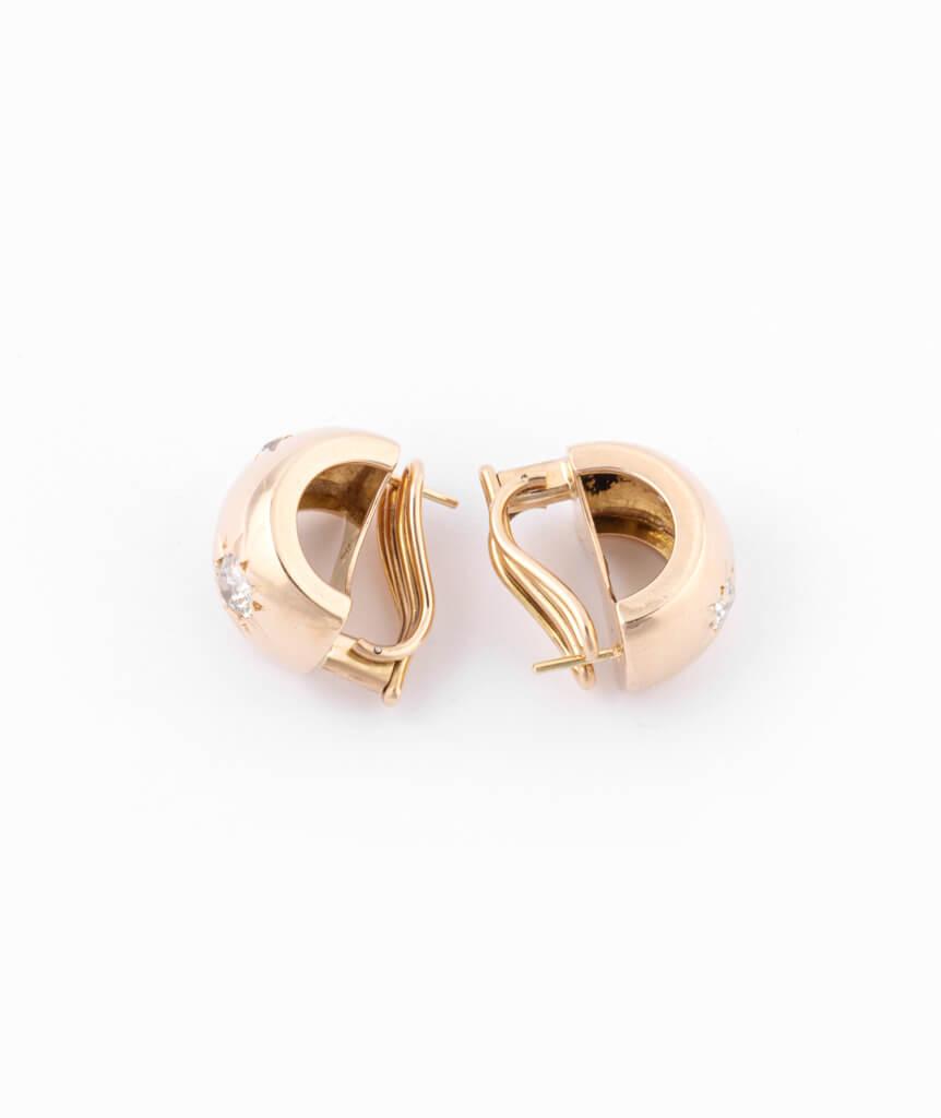Caillou Paris - Boucles d'oreilles anciennes diamants Alohi profil