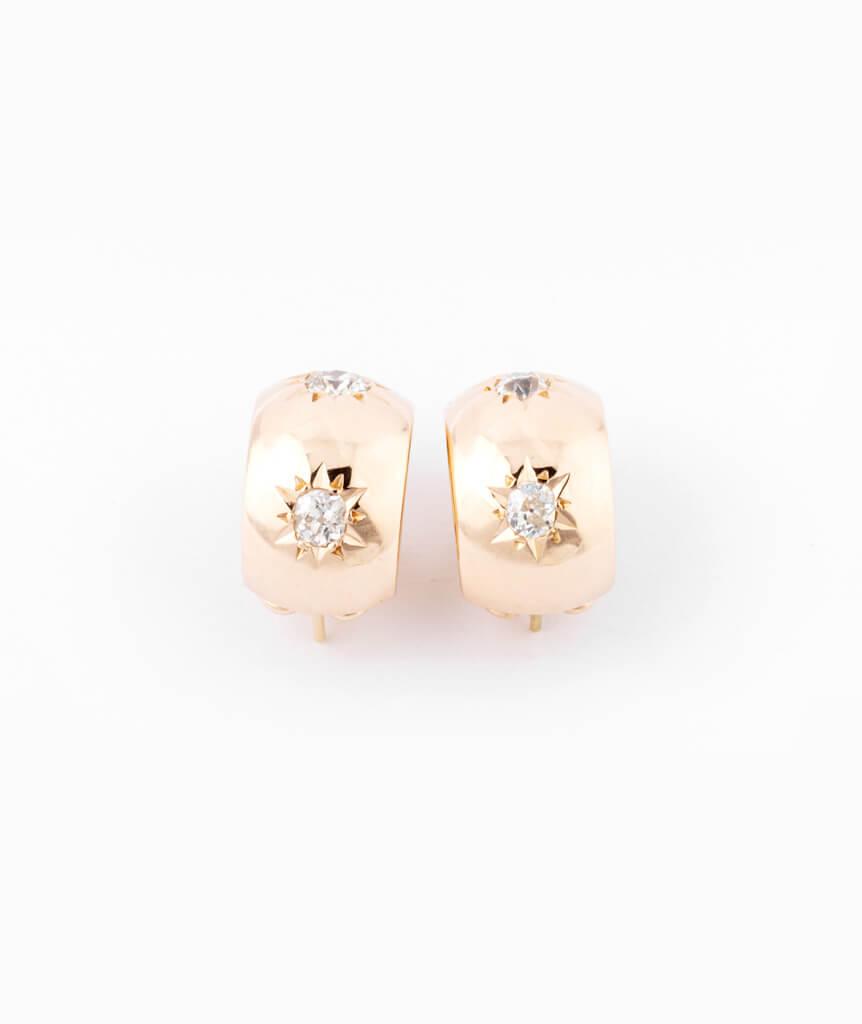 Caillou Paris - Boucles d'oreilles anciennes diamants Alohi