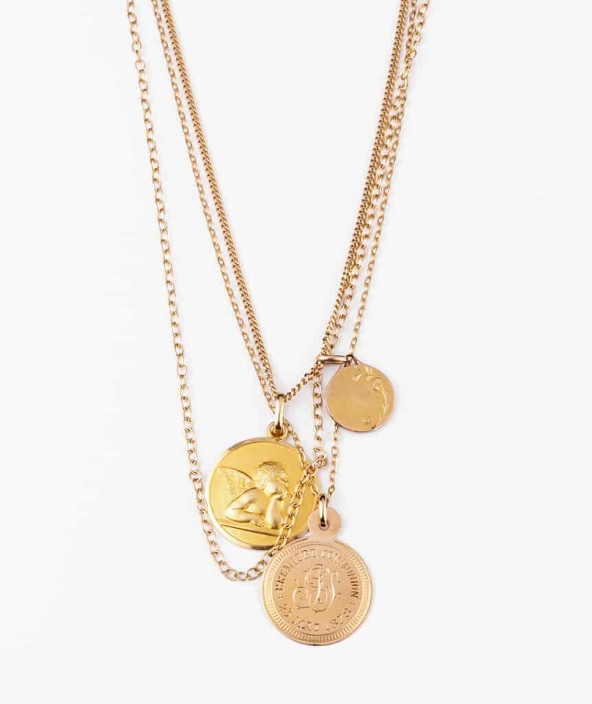 Caillou Paris - Collier ancien médailles Tilaka detail