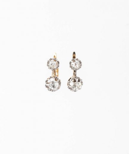 """Dormeuses anciennes diamants """"Ruksana"""" Bijoux Anciens - Caillou Paris"""