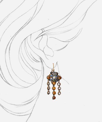 Caillou Paris - Boucles d'oreilles anciennes citrines Amalia porter