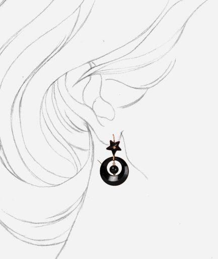 Caillou Paris - Boucles d'oreilles anciennes jais Dahud porter