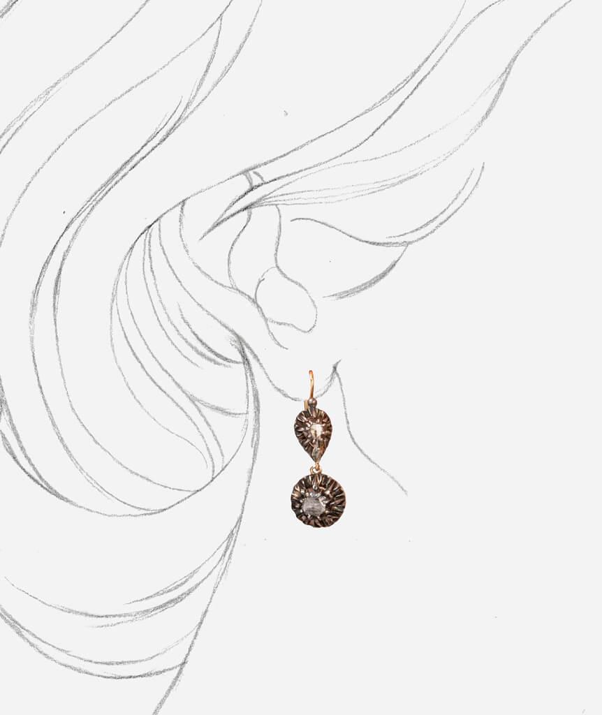 Caillou Paris - Boucles d'oreilles anciennes Urielle porter