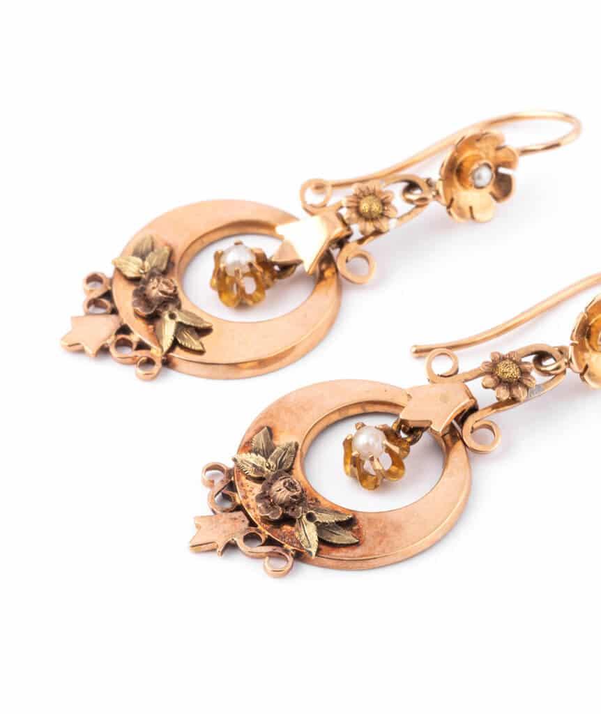 Caillou Paris - Boucles d'oreilles anciennes or Gulizar detail