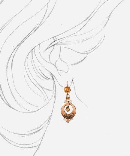 Caillou Paris - Boucles d'oreilles anciennes or Gulizar porter