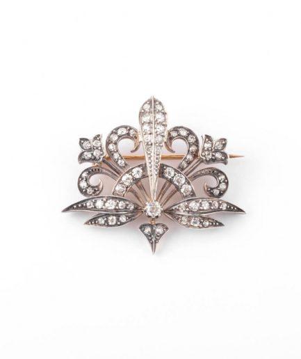 """Broche Art nouveau diamant """"Merryl"""" Broche ancienne Diamant Bijoux Anciens - Caillou Paris"""