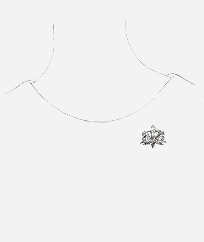 Caillou Paris - Broche Art nouveau diamant Merryl porter