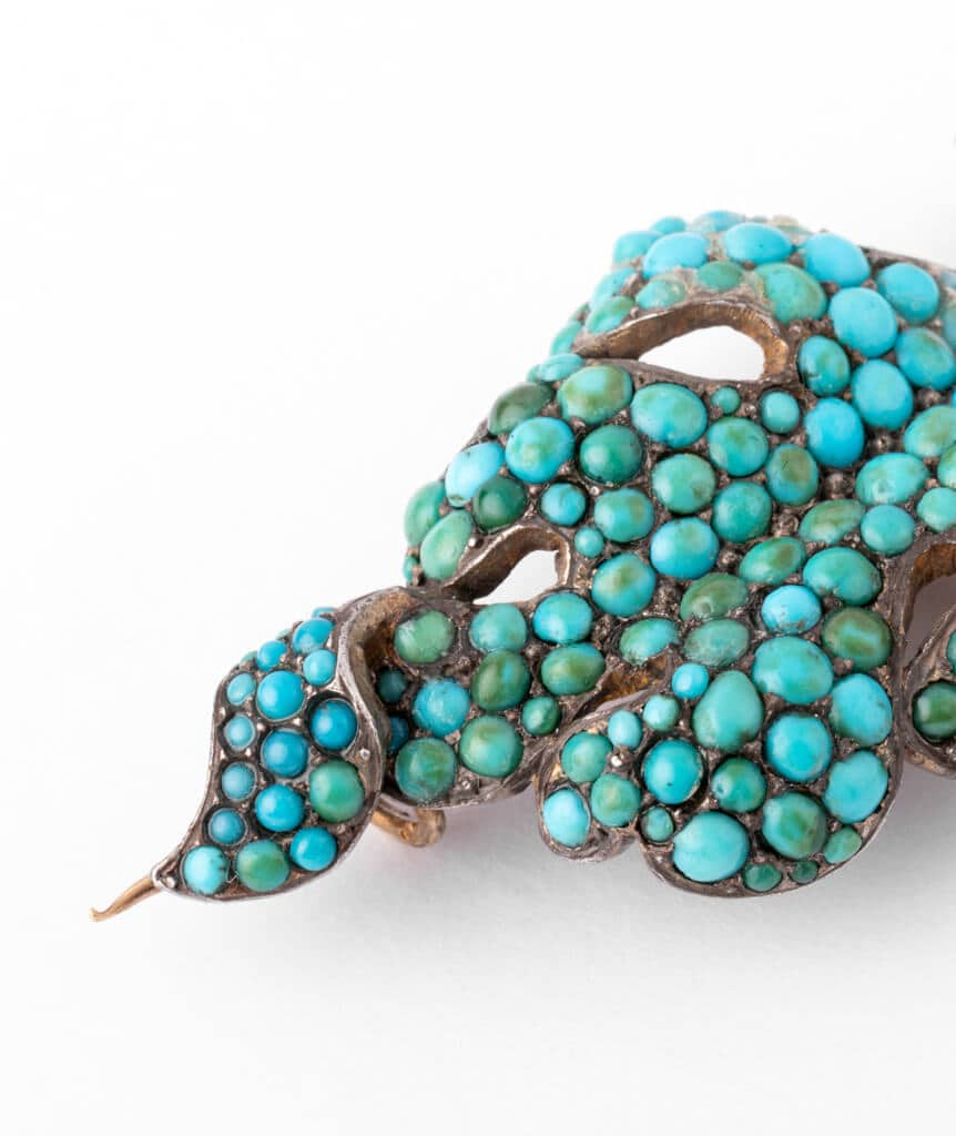 Caillou Paris - Broche ancienne turquoises Raurii detail1