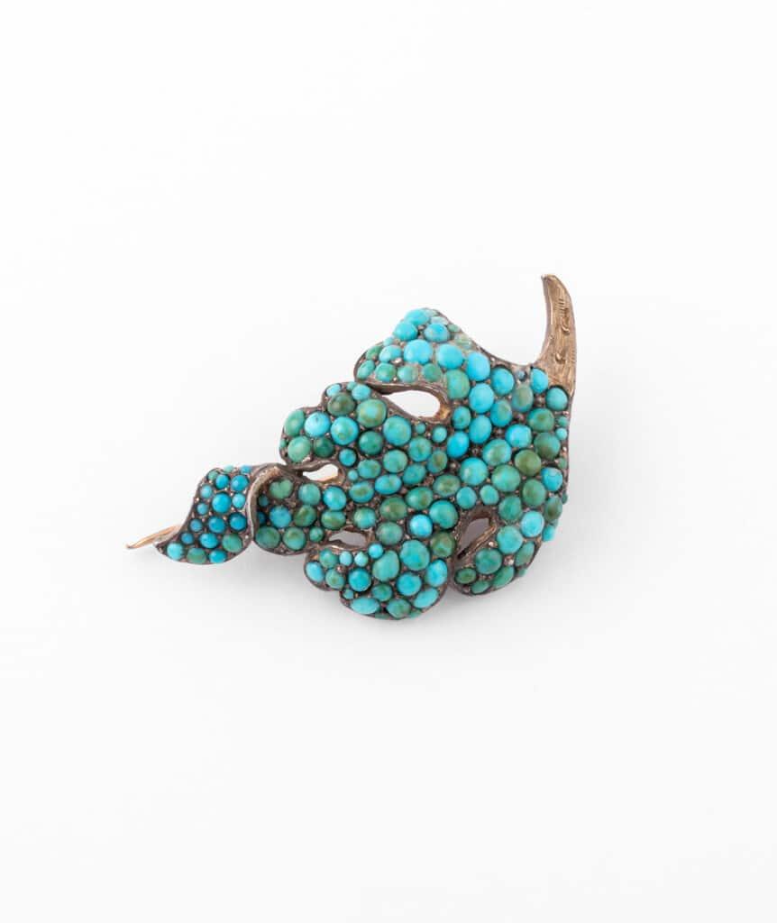 Caillou Paris - Broche ancienne turquoises Raurii