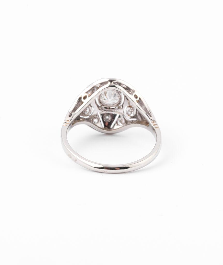 Bague ancienne diamants Inir dos