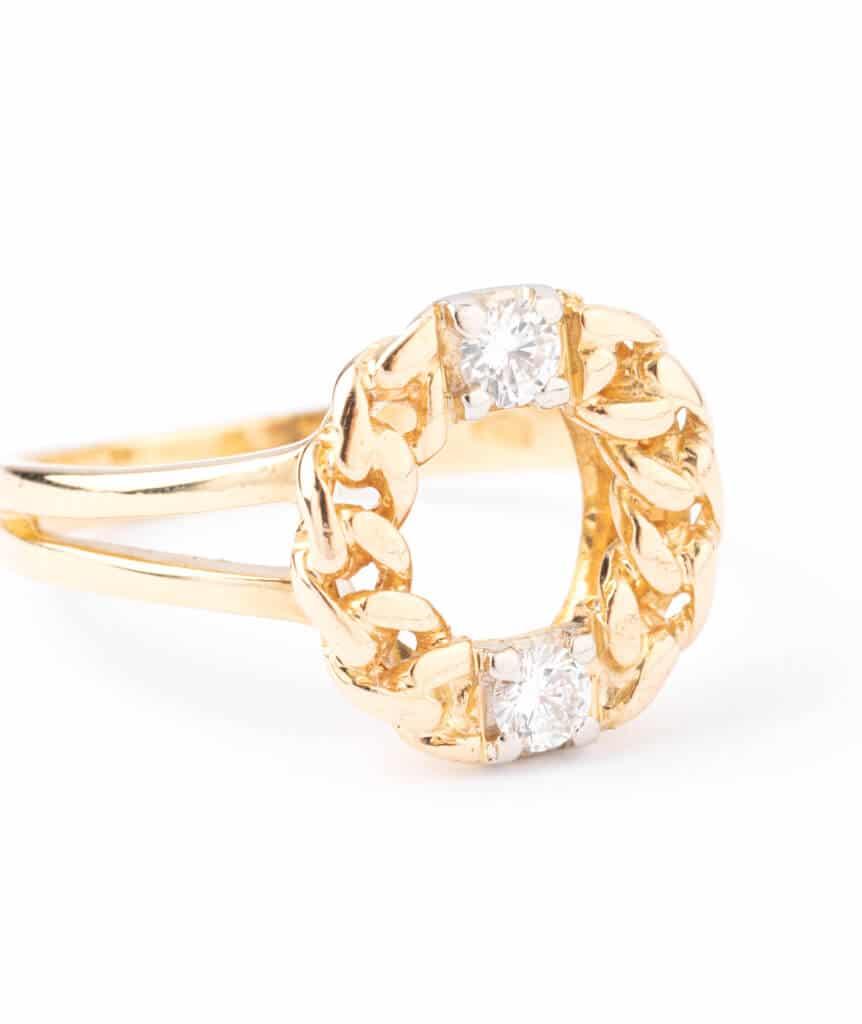 Bague ancienne diamants Kekipi gros plan
