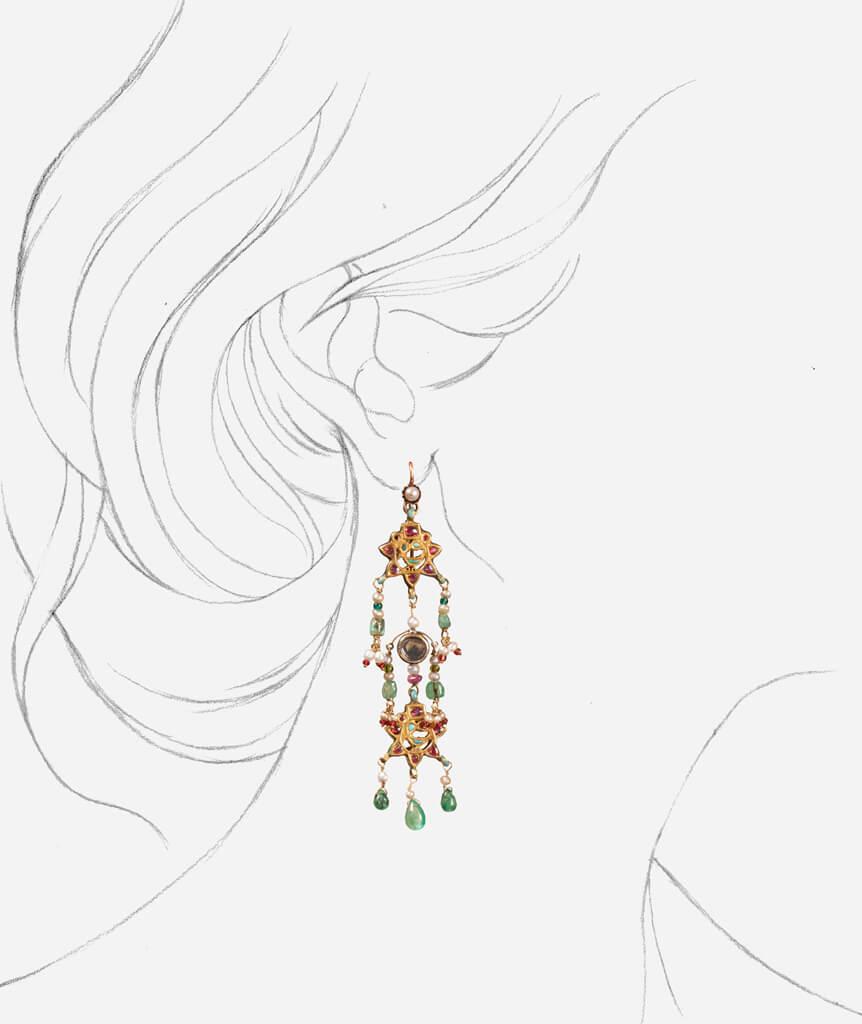 Pendants d'oreilles indiens Panna porter