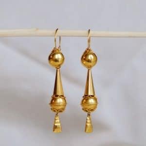 """Quel cadeau faire pour un anniversaire de mariage ? Pendants d'oreilles anciens or """"Adenora"""""""