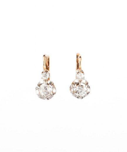 """Dormeuses anciennes diamants """"Anuata"""" Boucles d'oreilles anciennes Or Bijoux Anciens - Caillou Paris"""