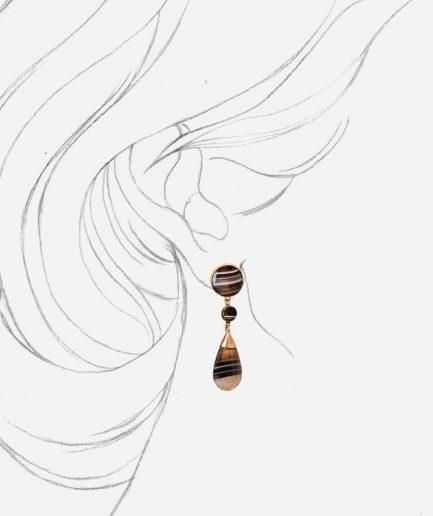Caillou Paris - Pendants d'oreilles anciens or Zora porter
