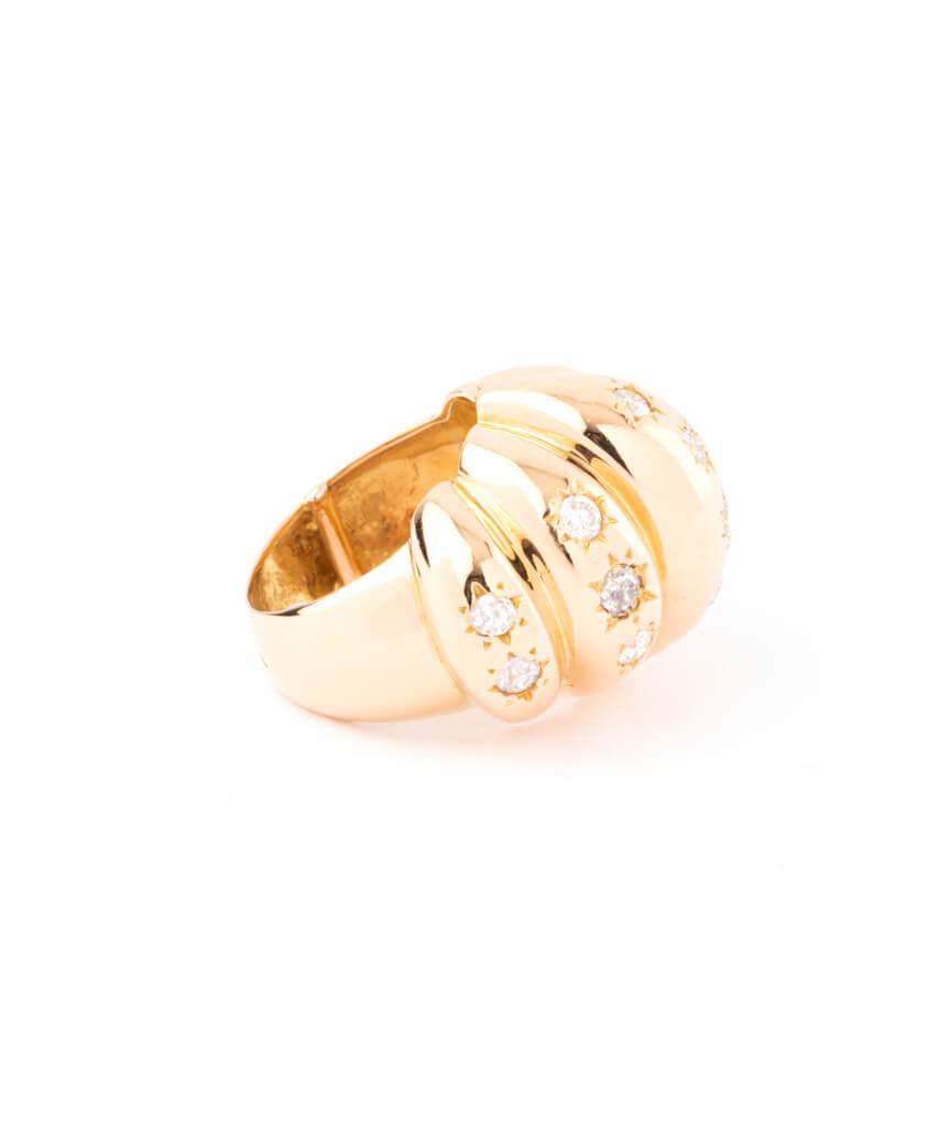 Caillou Paris - Bague ancienne diamants Brioche droit