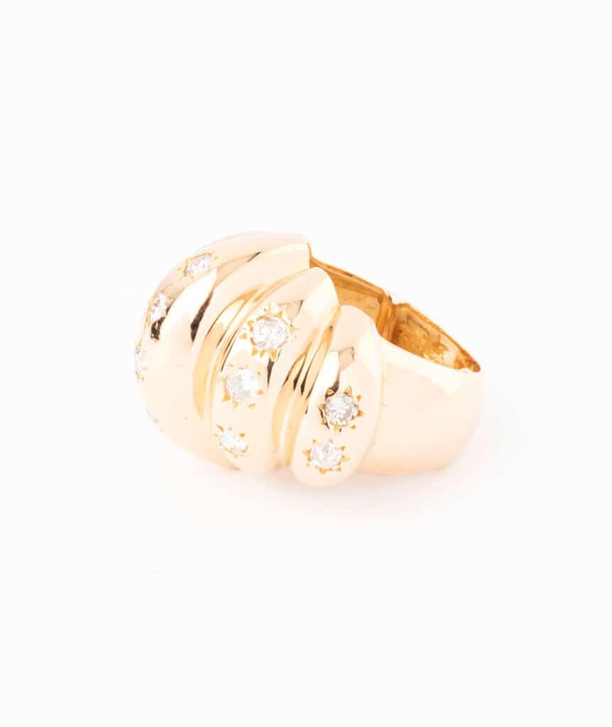 Caillou Paris - Bague ancienne diamants Brioche profil droit