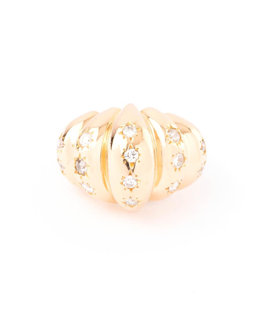 Caillou Paris - Bague ancienne diamants Brioche