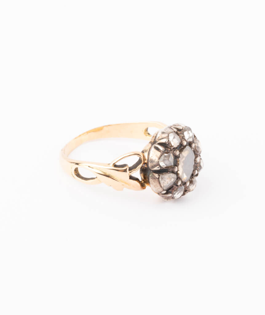 Bague ancienne diamants Glain droite