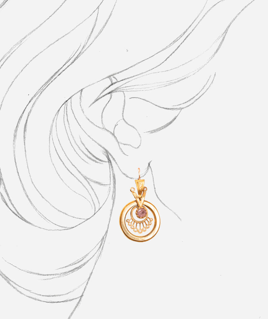 Boucles d'oreilles Napoléon III Kenan porter